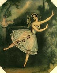 Carlotta Grisi u naslovnoj ulozi baleta Giselle (kolorirana lithografija, autor John Brandard, 1841)