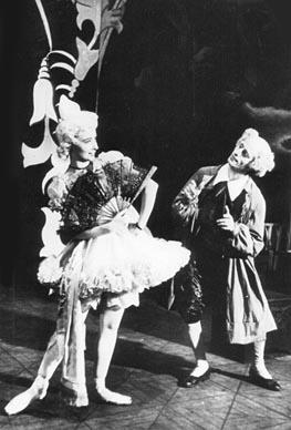 Sonja Kastl (Swanilda) i Ivica Sertić (Coppélius); Hrvatsko narodno kazalište u Zagrebu, Léo Delibes, Coppélia, kor. Margarita Froman, 1951.