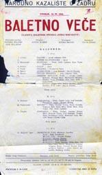Plakat za BAletno veče članova Baletnog studija Juraj Baraković u NArodnom kazalištu u Zadru 10. travnja 1956